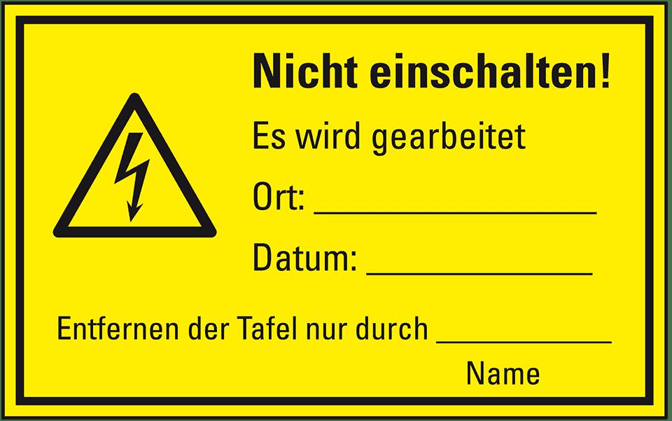 Maschinen-Hinweisschilder, Warnung, ... Nicht einschalten! | kroschke.at