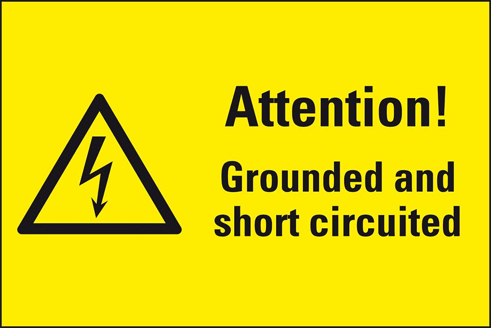 Warnschilder, Attention! Grounded and short circuited, Kombischilder ...