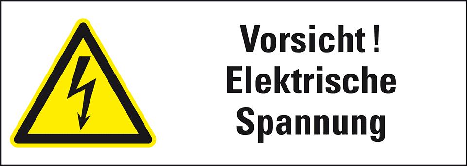 Warn-Kombischild Vorsicht, Spannung, praxisb., Folie, 210x74mm ...